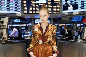 Kavanagh wound a top-knot at Tribune Standard. The label was chosen to close Fashion Week at the New York Stock Exchange. Photo / Supplied