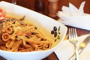 Puttanesca pasta at Bona Cafe. Photo / Greg Bowker