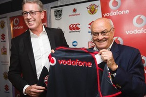 Billionaire Owen Glenn with Eric Watson the new joint owners of the New Zealand Warriors. Photo / Paul Estcourt