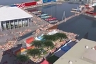 A computer graphic shows the Volvo Ocean Race yachts moored as they will be at the Viaduct Events Centre. Photo / Supplied