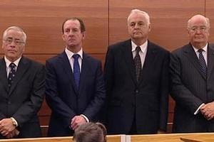 Lombard Finance directors Sir Douglas Graham, Michael Reeves, Bill Jeffries and Lawrence Bryant in the High Court at Wellington. Photo / Supplied