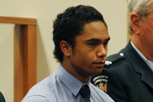 Raurangi Mark Marino, 16, was sentenced at Rotorua District court this morning to 10 years in prison for the rape of a 5-year-old tourist in Turangi in December 2011. Photo / Christine Cornege.