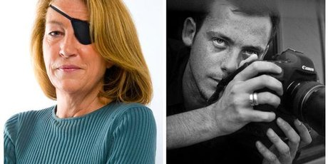 American journalist Marie Colvin, left, and French photographer Remi Ochlik.