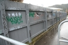A tagged fence between Karamu Cres and Totara St in the Hutt Valley. Photo / NZ Herald