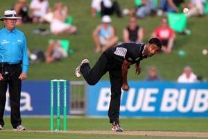 Tarun Nethula pictured during the New Zealand Black Caps vs Zimbabwe, 3rd ODI cricket match at McLean Park in Napier. Photo / Glenn Taylor