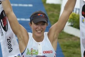 Gina Crawford winning Ironman New Zealand in 2009. Photo / File