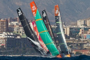 Close racing like this is likely to be a feature of both the Pro-Am and the In Port races _ and the restart!  Picture / Ian Roman / Volvo Ocean Race