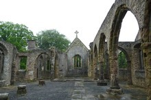 The ruins of Holy Trinity Church in Buckfastleigh, Dartmoor. Photo / Jim Eagles