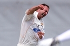 Wellington Firebirds bowler Mark Gillespie celebrates the wicket of Auckland Aces player Dean Bartlett. Photo / Dean Purcell