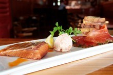 Salmon tapas at the Beresford Wine Bar. Photo / Richard Robinson