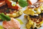 Corn and dill fritters with salmon. Photo / Anson Smart