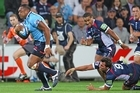 Sekope Kepu of the Waratahs runs away to score a try. Photo / Getty Images