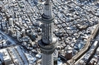 Tokyo's new landmark, the recently-completed Sky Tree tower, looms over other snow-covered buildings. Photo / AP