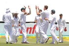 South Africa celebrate the wicket of Dean Brownlie. Photo / Getty Images