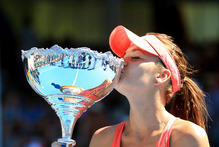 Agnieszka Radwanska of Poland holds the trophy. Photo / Getty Images 
