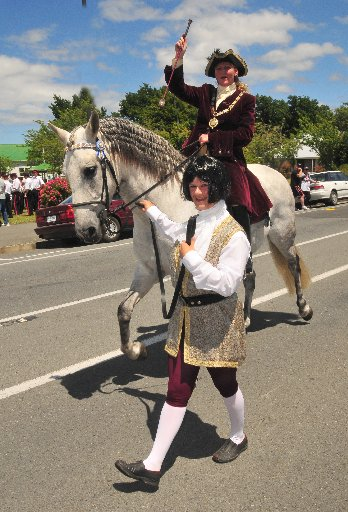 HEAR YE: South Wairarapa Mayor Adrienne Staples (on horse) and councillor Solitaire Robertson at the Featherston Christmas Parade.  Category  Gen
