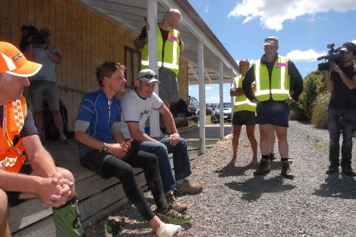 Wellington mountain runner Alastair Shelton was surrounded by family, searchers and media representatives at the Wairarapa LANDSAR base at Hood Aerodrome yesterday after surviving two days lost in the cold, windy and rainswept Tararua Ranges at the weeken