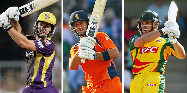Ryan ten Doeschate has played for Kolkata, the Netherlands, Tasmania and Otago. Photos / AP, Getty, Photosport