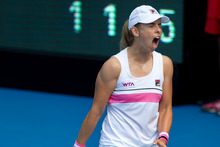 Marina Erakovic shows her frustration during her loss to Jamie Hampton. Photo / Brett Phibbs