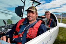 All Black skipper Richie McCaw is joined by his cousin Alex McCaw as they prepare for a flight at Omarama. Photo / Otago Daily Times