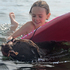 Maddi Davidson and her dog Gracie beat the heat in Lake Taupo. Photo / Chris Hayden