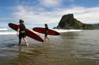 The surf break at Piha has come out top in a survey of board riders' favourites. Photo / APN