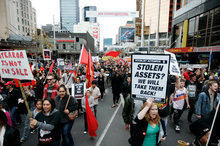 Protest against asset sales at Queen Street Auckland. Photo / Doug Sherring