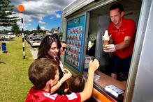 Carl Russell, who gets 40 per cent of the income from his East Auckland Mr Whippy franchise in summer, enjoys the flexible lifestyle. Photo / Steven McNicholl