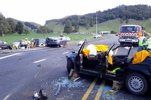 The aftermath of a crash at 8-Mile Junction near Waitomo. Photo / Supplied