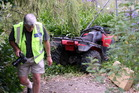 The quad bike came to rest down a ditch in Hawkes Bay. Photo / APN