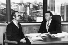 Robert Fisher (at left with John Henry QC) stuck up for police during the Arthur Thomas inquiry in 1980. Photo / NZ Herald