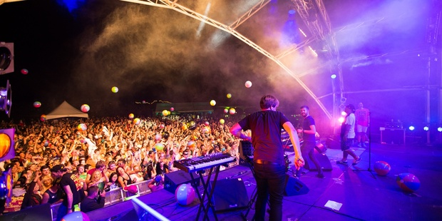 Shapeshifter perform to a crowd of thousands on New Years Eve at the La De Da 2012 New Years Festival in Martinborough. Photo /  Aaron Moffitt.
