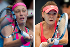 Yanina Wickmayer faces Agnieszka Radwanska in the court. Photos / Sarah Ivey