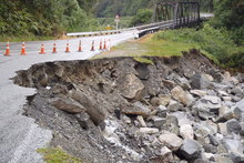 A slip at the bottom of the Otira gorge. Photo / Kasey Miles