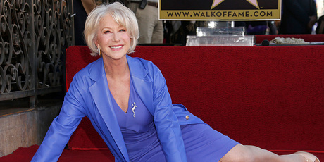 Helen Mirren at the unveiling of her star on the Hollywood Walk of Fame. Photo/AP