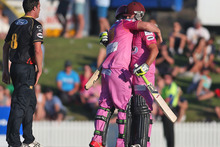 Steven Croft and Anton Devcich of the Northern Knights embrace after defeating the Wellington Firebirds. Photo / Getty Images