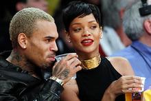 Chris Brown and Rihanna at a Los Angeles Lakers game. Photo/AP