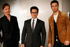 JJ Abrams, centre, with Star Trek stars Chris Pine and Benedict Cumberbatch. Photo/AP