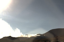 Mt Tongariro's Te Maari Crater at 8.15am this morning. Image / GNS