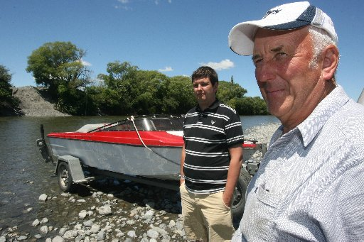 PRAISED: Police have praised veteran Greytown jetboat pilot and Waiohine River expert Bruce Slater (right) and his son, Andrew, for rescuing the wife of Oscar-winning sound editor Michael Alexander Hopkins, 53, who drowned when a flash flood capsized thei