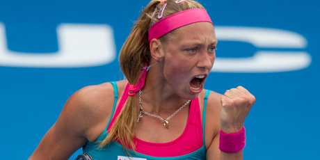 Yanina Wickmayer's love affair with the centre court in Auckland keeps on keeping on. Photo / Brett Phibbs