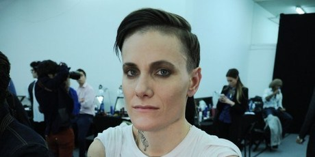 Casey Legler backstage at New York fashion week. Legler is the first woman to exclusively model menswear.Photo / AFP