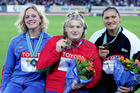 Valerie Adams (right) won bronze at the 2005 world champs behind Nadzeya Ostapchuk (centre). Photo / Getty Images