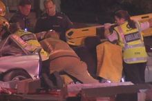 Emergency staff attend the scene of a crash involving four teenage girls. Photo / Supplied