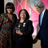 Michelle Obama and John Kerry honour National Autonomous University of Honduras Rector Julieta Castellanos with a Secretary of State's International Women of Courage medal.  Photo / AP