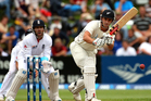 Hamish Rutherford of New Zealand bats on day three of the First Test match between New Zealand and England. Photo / Getty Images.