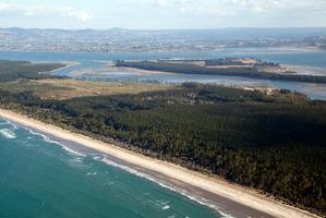 Aerial view of Matakana Island. Photo / Andrew Warner