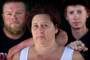From left, Stephen Bacon, Darlene Fiveash and Henry Bacon, the family of Annalese Bacon, who was killed when a car driven by Trent Robertson crashed. Photo / Stephen Parker