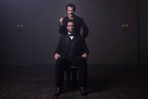 Billy Campbell as Lincoln and Jesse Johnson as John Wilkes Booth in Killing Lincoln. Photo / Supplied