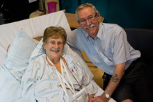 Connie Grice who is recovering from heart surgery, with her husband John. Photo / Sarah Ivey